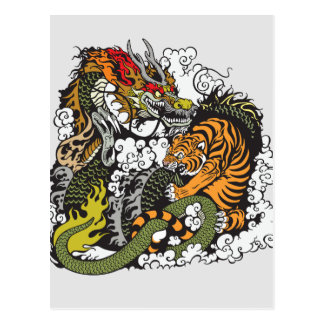 dragon and tiger fighting postcard