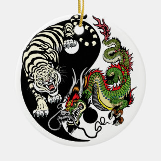 dragon and tiger yin yang christmas ornament