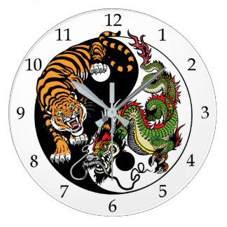 dragon and tiger yin yang large clock