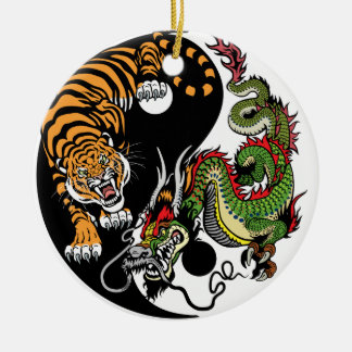 dragon and tiger yin yang round ceramic decoration