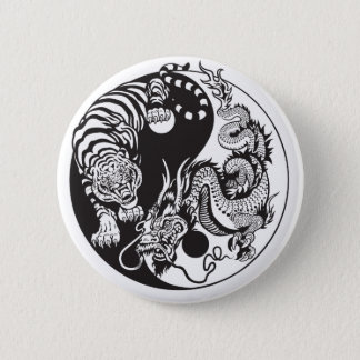 dragon and tiger yin yang symbol 6 cm round badge