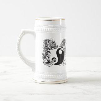 dragon and tiger yin yang symbol beer stein