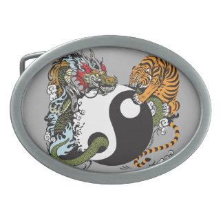 dragon and tiger yin yang symbol belt buckles
