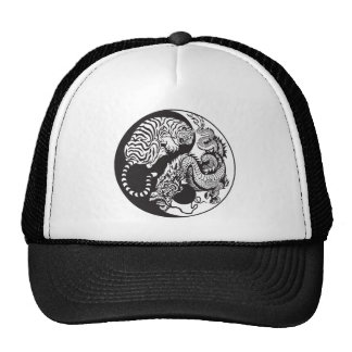 dragon and tiger yin yang symbol cap