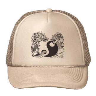 dragon and tiger yin yang symbol cap