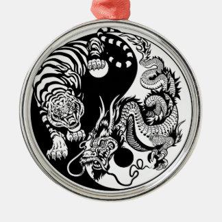 dragon and tiger yin yang symbol christmas ornament