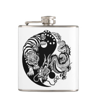 dragon and tiger yin yang symbol flask