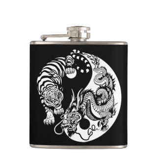 dragon and tiger yin yang symbol hip flask