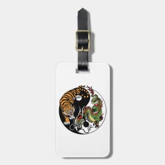 dragon and tiger yin yang symbol luggage tag