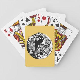 dragon and tiger yin yang symbol poker deck