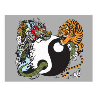 dragon and tiger yin yang symbol postcard