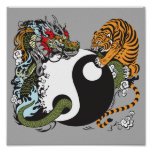 dragon and tiger yin yang symbol poster