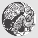 dragon and tiger yin yang symbol round sticker