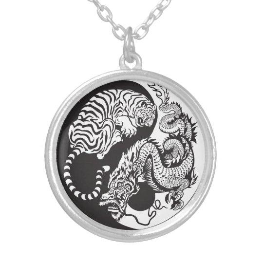 dragon and tiger yin yang symbol silver plated