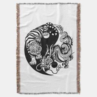 dragon and tiger yin yang symbol throw blanket