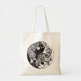 dragon and tiger yin yang symbol tote bag