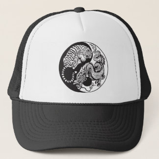 dragon and tiger yin yang symbol trucker hat