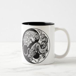 dragon and tiger yin yang symbol Two-Tone mug