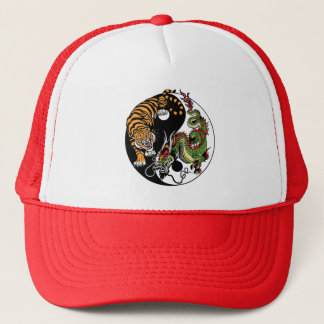dragon and tiger yin yang trucker hat