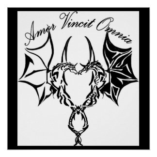 dragon and unicorn in heart shape poster