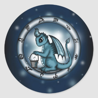 Dragon Aquarius Zodiac Classic Round Sticker