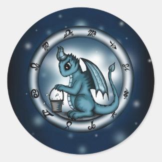 Dragon Aquarius Zodiac Round Sticker