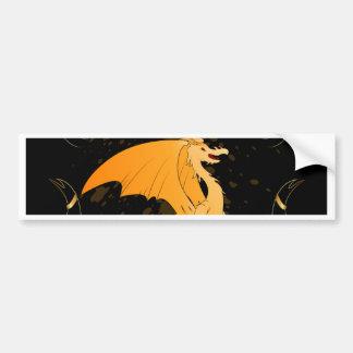 Dragon Art, Funny golden Bumper Sticker