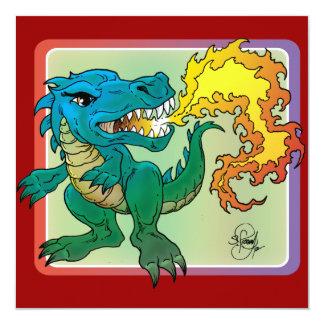 Dragon Art inspired by little t by Scott Rosema 13 Cm X 13 Cm Square Invitation Card