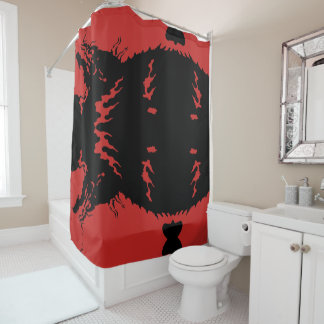 Dragon Art Red  Shower Curtain