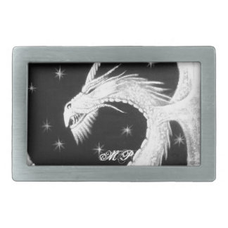 Dragon at Night Painting Rectangular Belt Buckle