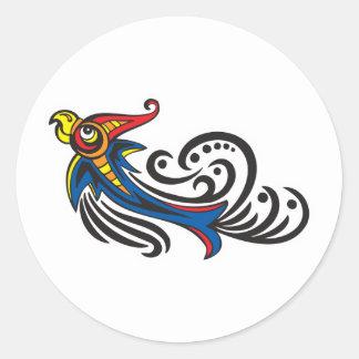 Dragon Bird Tribal Design Round Sticker