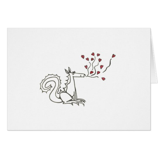 Dragon Blowing Hearts Card
