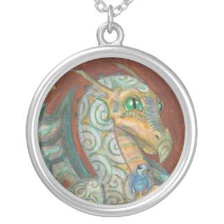 Dragon + Blue Bird fantasy art painting necklace