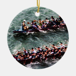 Dragon Boats e1 Round Ceramic Decoration