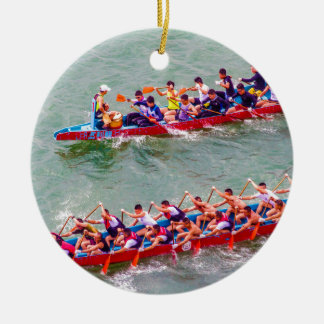 Dragon Boats Round Ceramic Decoration