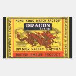 Dragon Brand Vintage Safety Match Label Rectangular Sticker