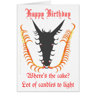 Dragon Breathing Fire Birthday card