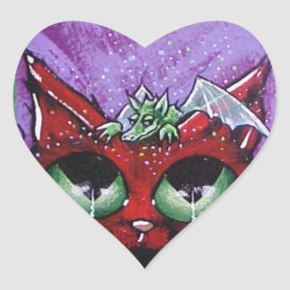 dragon cat heart sticker