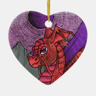 Dragon Ceramic Heart Decoration