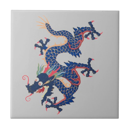 Dragon Chinese Asian Serpent Blue Crazy Qing Tile
