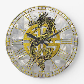 Dragon Chinese Symbol Mother of Pearl Pattern Large Clock