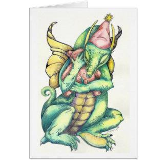 Dragon Cuddling Teddy Bear for Comfort Card