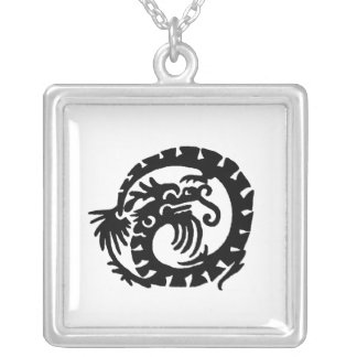 Dragon Curled into a  Circle Necklace