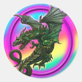 Dragon design classic round sticker