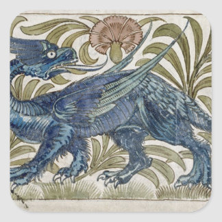 'Dragon' design for a tile (w/c on paper) Square Sticker