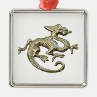 Dragon Design Silver-Colored Square Decoration