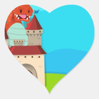 Dragon destroying the castle heart sticker