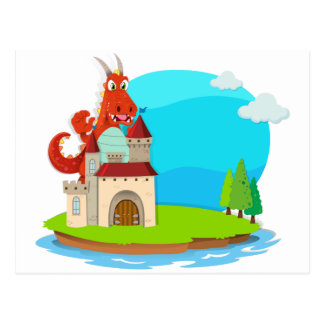 Dragon destroying the castle postcard