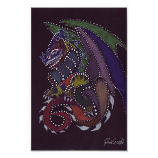 Dragon Dot Painting Poster