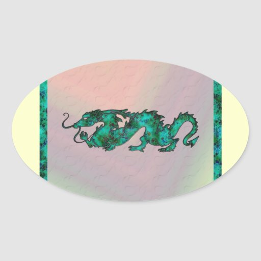 Dragon Dragon Cutout of Crystal Oval Stickers